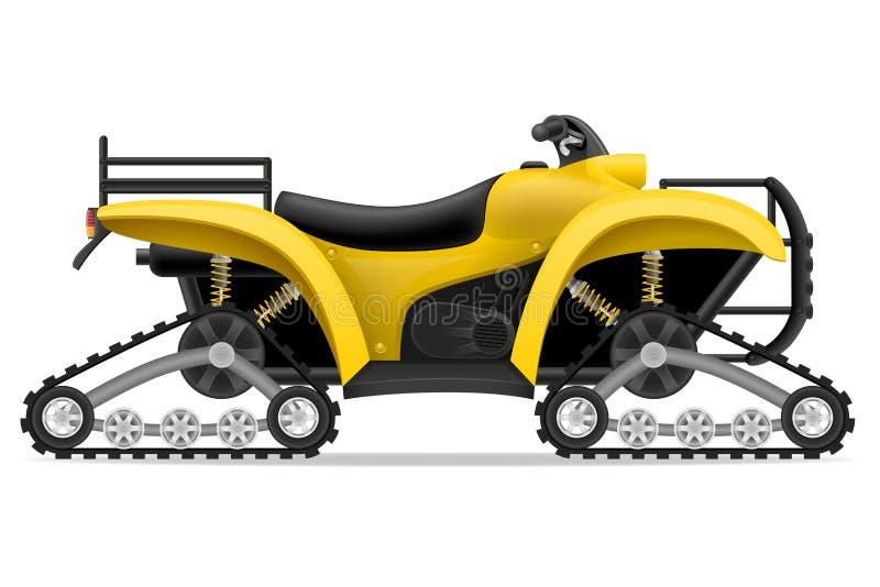 La motocicleta de Atv en cuatro pistas de los caminos vector el ejemplo stock de ilustración