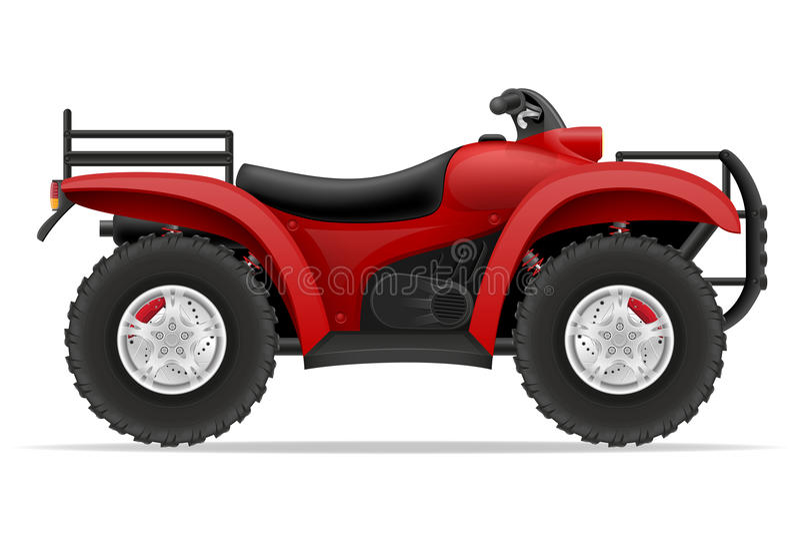 La motocicleta de Atv en cuatro ruedas de los caminos vector el ejemplo ilustración del vector