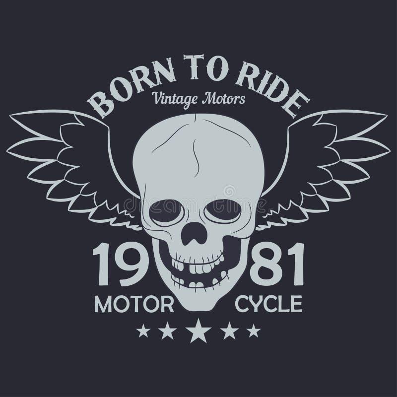La motocicleta viste gráficos Cráneo con las alas Ropa del vintage del corredor ilustración del vector
