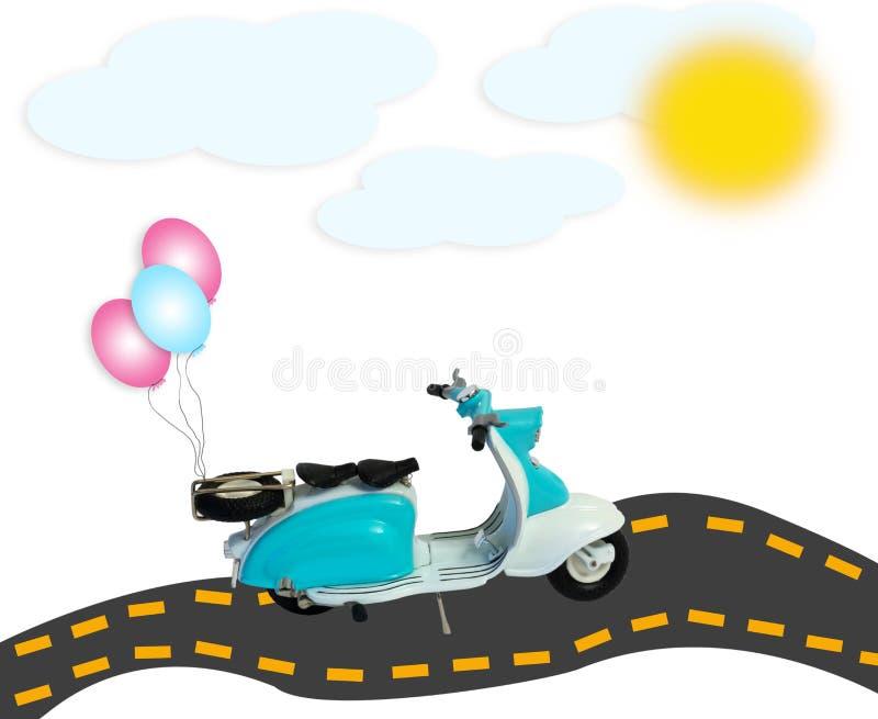 La motocicletta del motorino del collage balloons il sole delle nuvole della strada isolato immagine stock libera da diritti
