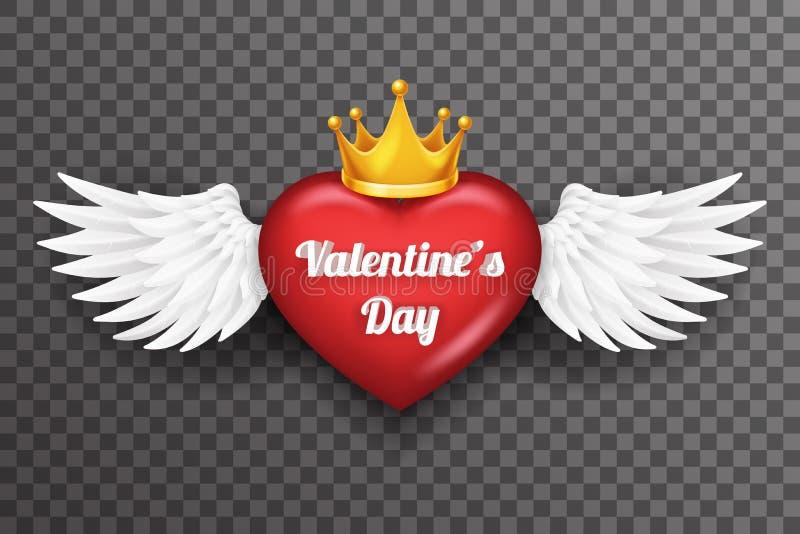 La mouche blanche d'ange d'oiseau de couronne de coeur royal de Saint Valentin s'envole le vecteur transparent de fond de la conc illustration de vecteur