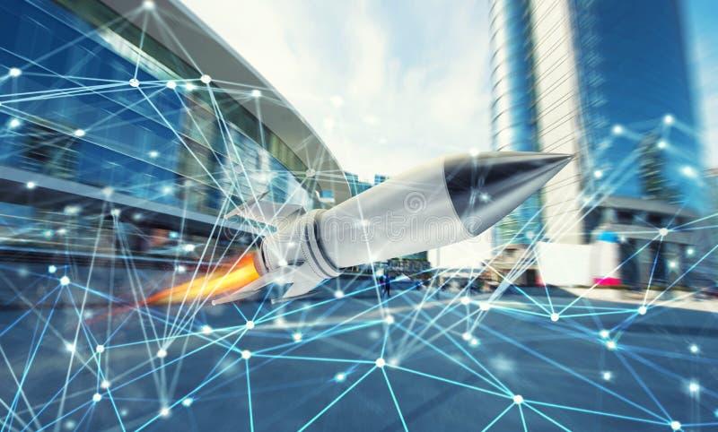 La mouche de Rocket jeûnent avec le fond de réseau de connexion internet concept de société de démarrage et grandissant photographie stock libre de droits