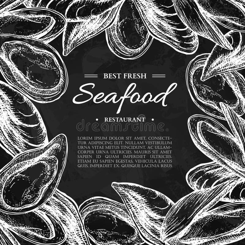 La moule et l'huître tirées par la main de vecteur de fruits de mer ont encadré l'illustration Calibre gravé de tableau noir de s illustration libre de droits
