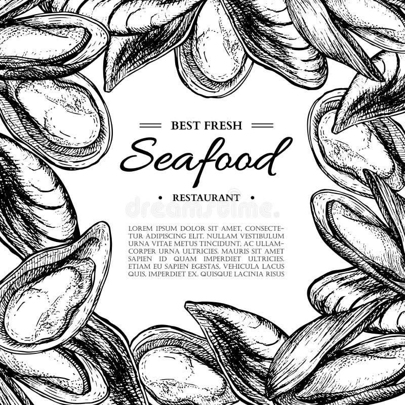 La moule et l'huître tirées par la main de vecteur de fruits de mer ont encadré l'illustration Calibre gravé de vintage de style illustration libre de droits