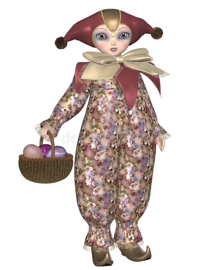 Muñeca del payaso de Pierrot con los huevos de Pascua ilustración del vector