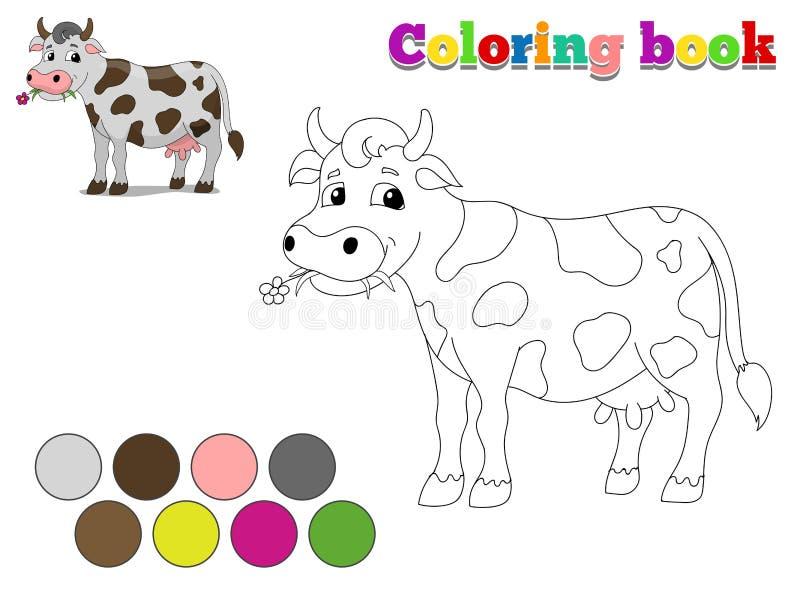 La mucca del libro da colorare scherza la disposizione per il gioco royalty illustrazione gratis
