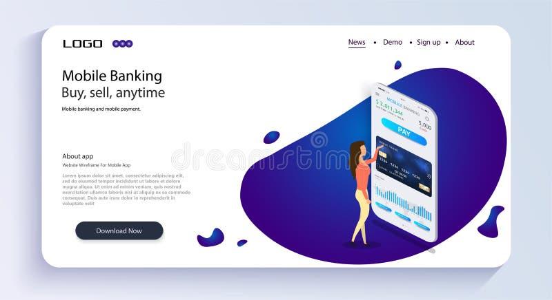 La muchacha actúa actividades bancarias móviles Actividades bancarias móviles Concepto isométrico del app del banco móvil Diseño  stock de ilustración