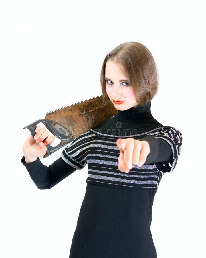 La muchacha adolescente encantadora con vio imagen de archivo libre de regalías