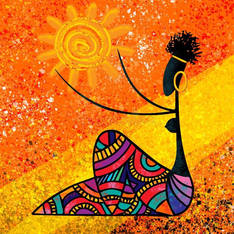 La muchacha africana sostiene las ilustraciones digitales de la lona de pintura del sol originales en colores calientes stock de ilustración