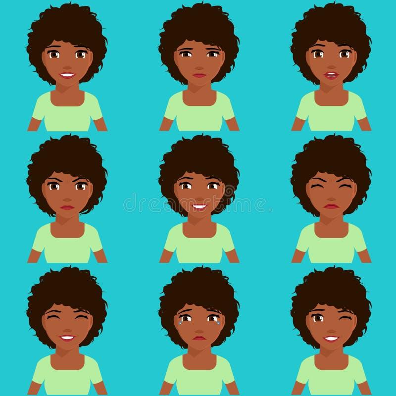 La muchacha afroamericana expresa emociones stock de ilustración
