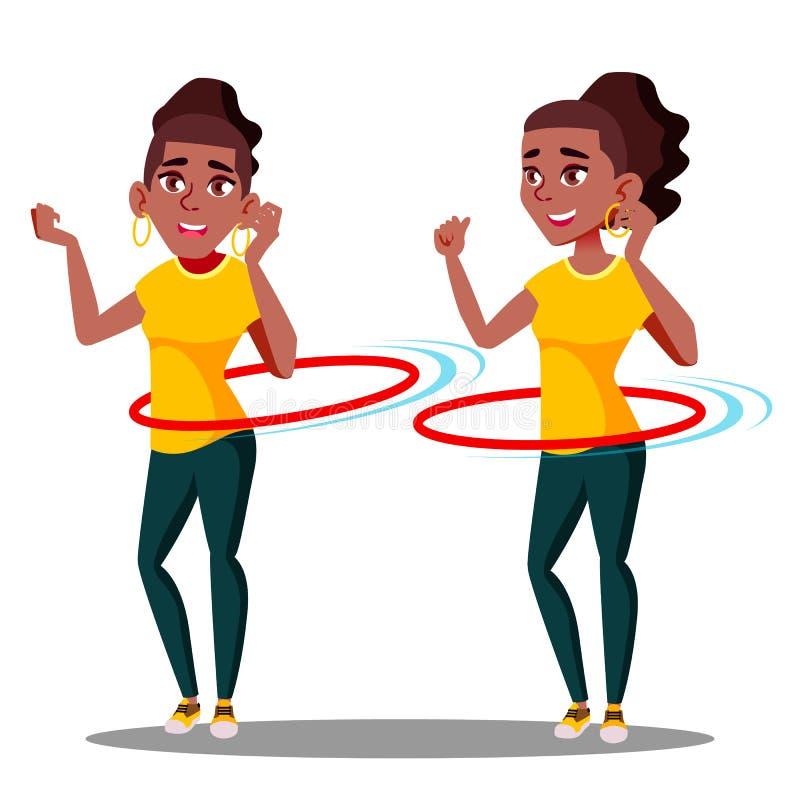 La muchacha afroamericana negra atlética joven gira vector del aro de Hula Ilustración aislada ilustración del vector