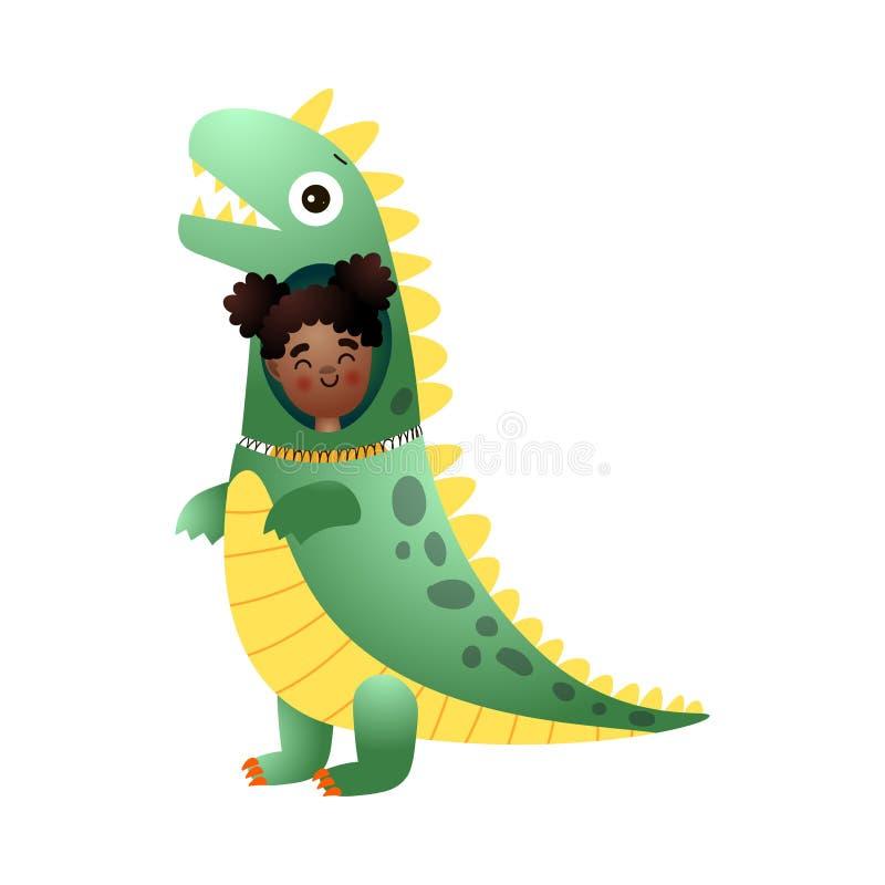 La muchacha afroamericana sonriente linda lleva un traje del dinosaurio ilustración del vector