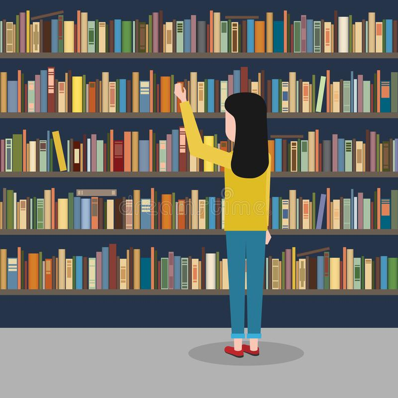 La muchacha alcanza para el libro en el fondo del bookshelv libre illustration