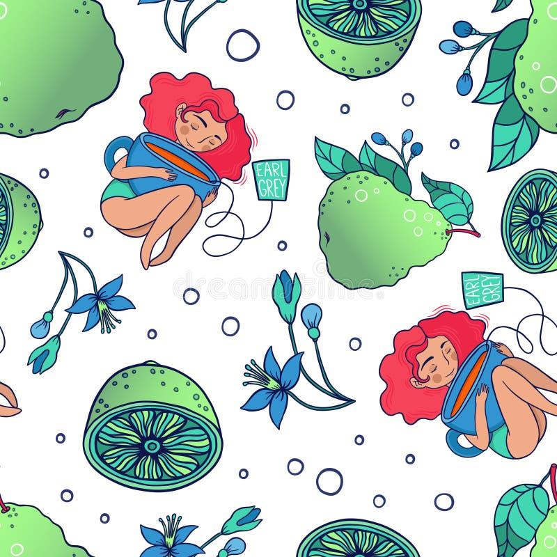 La muchacha ama té con el modelo inconsútil del vector de la bergamota ilustración del vector