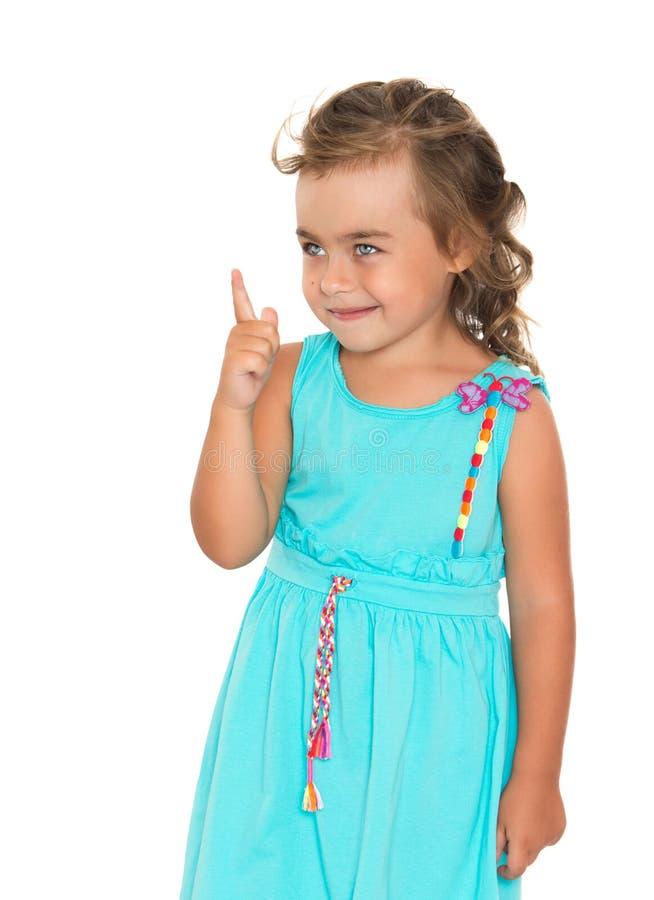 La muchacha amenaza con un finger foto de archivo libre de regalías