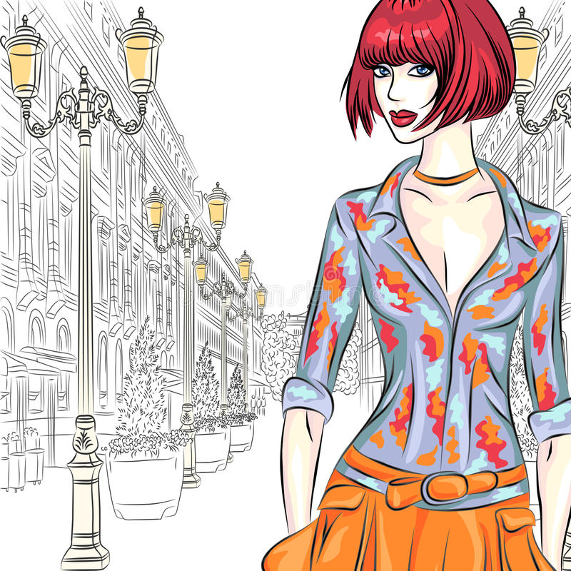 La muchacha atractiva de la moda del vector va para St Peters libre illustration