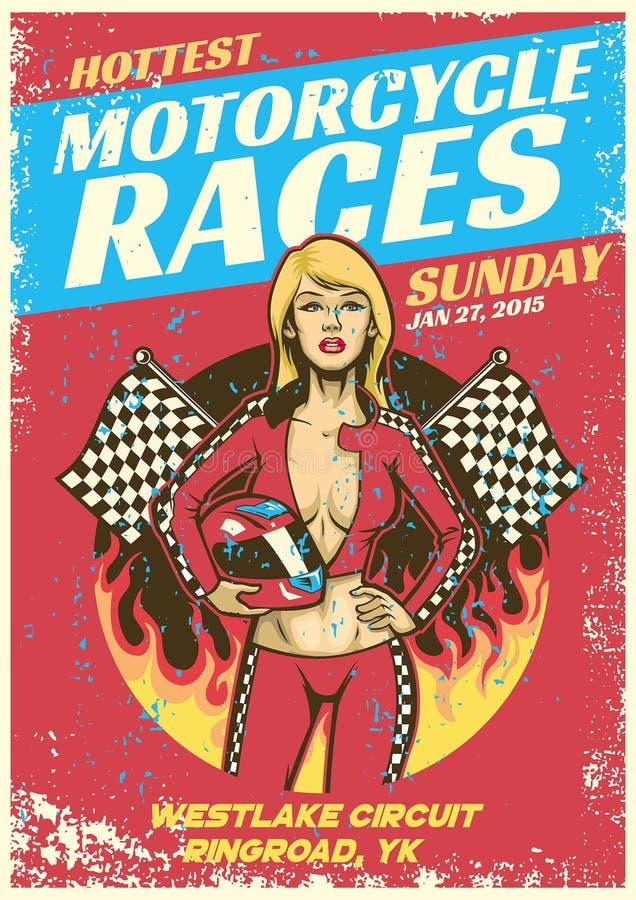 La muchacha atractiva en cartel del evento de la raza de la motocicleta en grunge texturizó la pocilga ilustración del vector