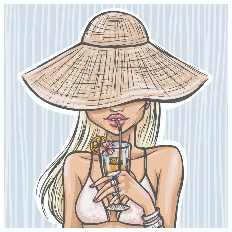 La muchacha atractiva en sombrero bebe un cóctel stock de ilustración