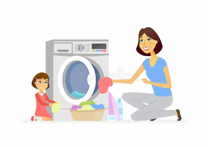 La muchacha ayuda a la madre con lavarse - ejemplo aislado los caracteres de la gente de la historieta ilustración del vector