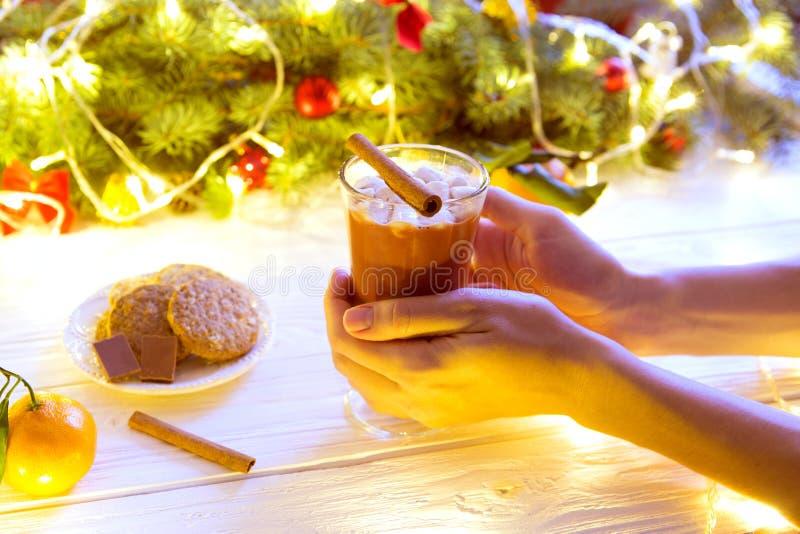 La muchacha bebe la taza del chocolate caliente, con la rama de la Navidad del árbol de abeto en la tabla rústica fotografía de archivo libre de regalías