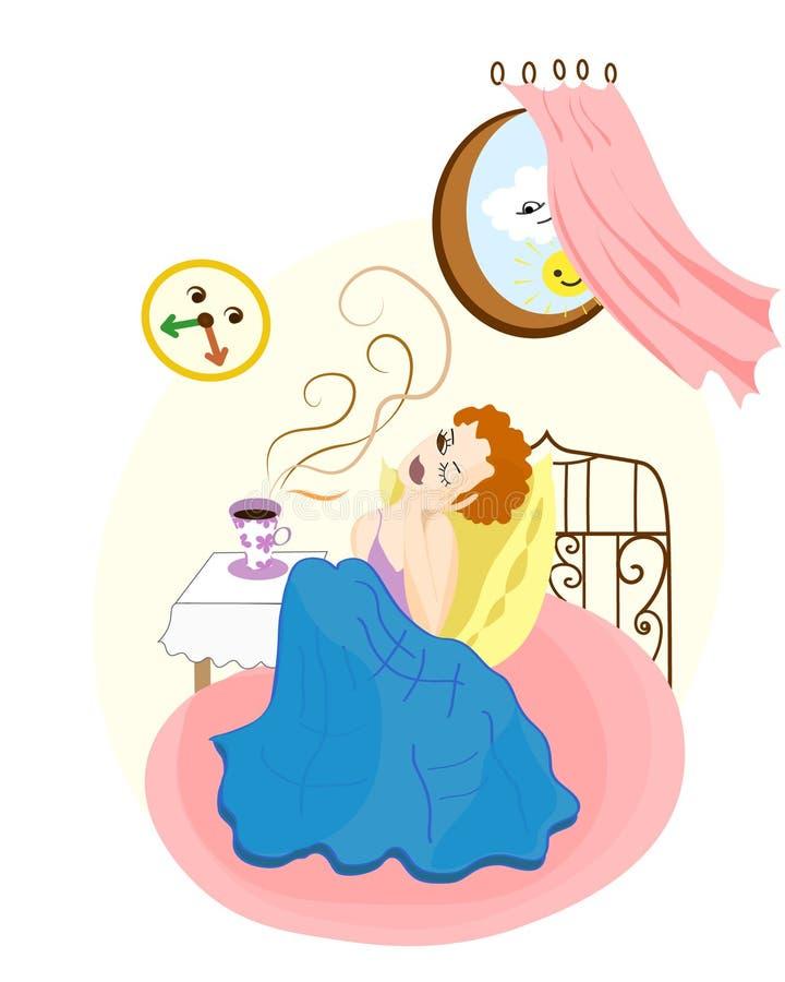 La muchacha bonita del pelirrojo despierta y mira el reloj Sun, cofee y ilustración del vector