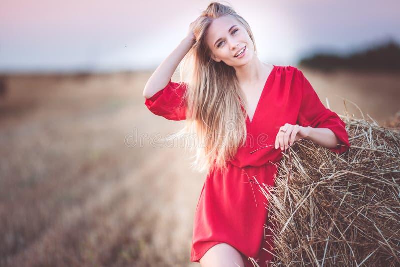 La muchacha bonita está llevando la pila cercana del vestido rojo de heno en el campo imagenes de archivo