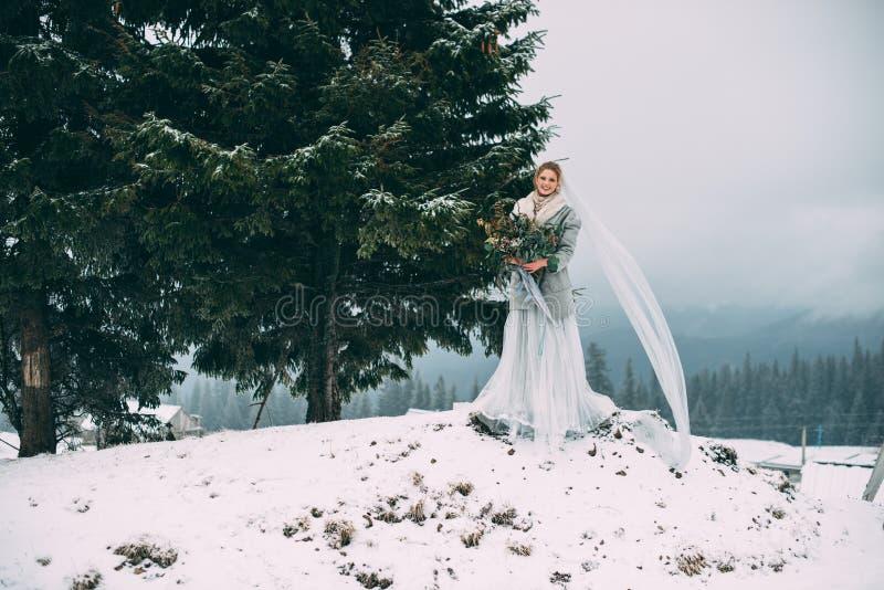 La muchacha bonita joven espera a su amante en el medio de las montañas cubiertas con nieve fotos de archivo