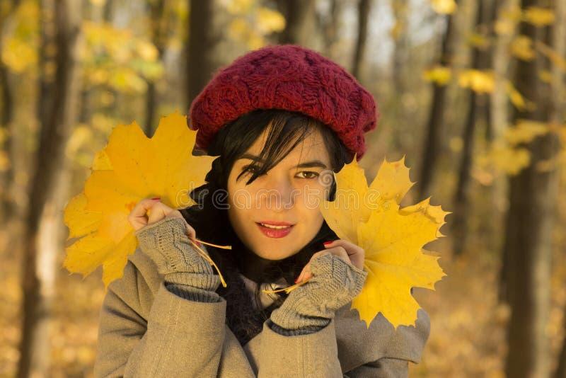 La muchacha bonita que lleva a cabo amarillo se va como símbolos del otoño imagen de archivo libre de regalías