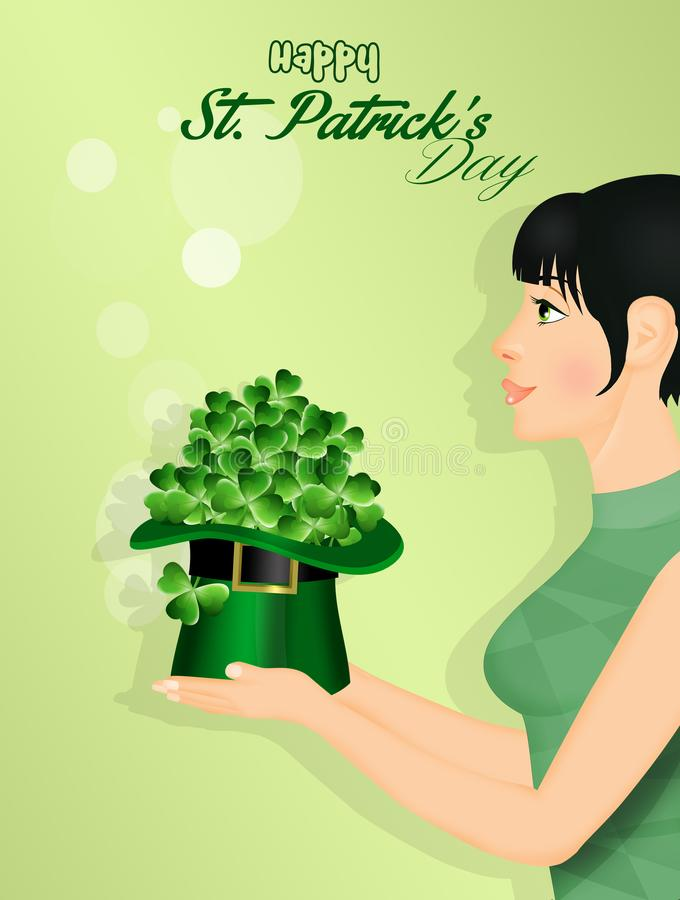 La muchacha celebra el banquete de St Patrick stock de ilustración