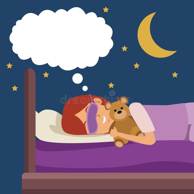 La muchacha colorida de la escena con la máscara del sueño que soñaba en cama en la noche abrazó un oso de peluche ilustración del vector