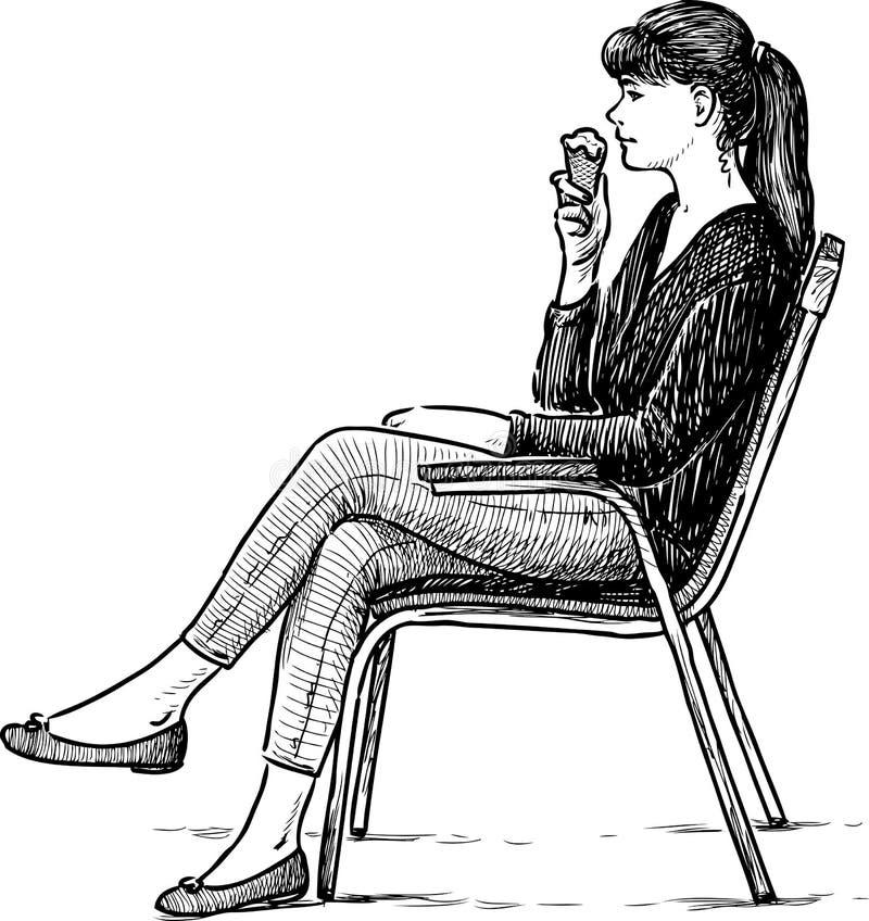 La muchacha come el helado ilustración del vector
