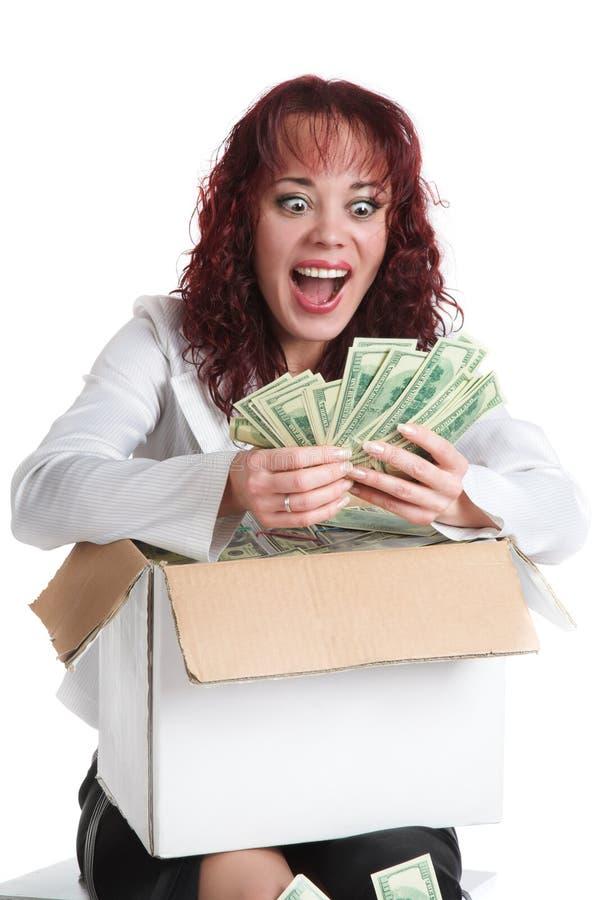 La muchacha con el dinero grande fotos de archivo