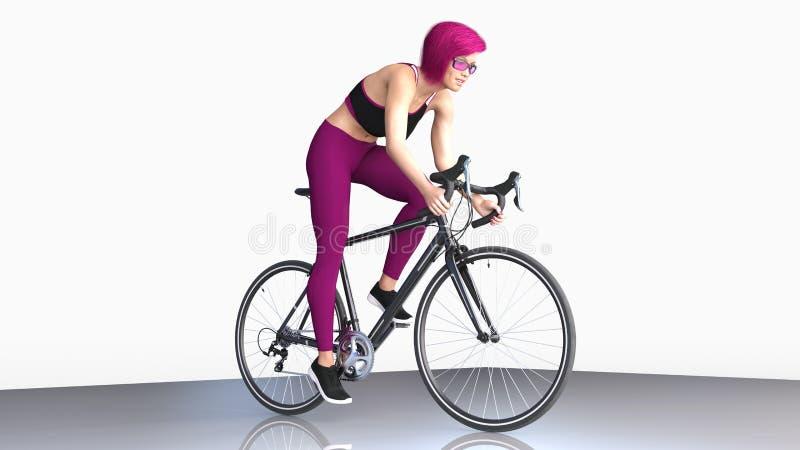La muchacha con el pelo púrpura corto en la bicicleta, mujer atlética en deportes equipa montar una bici en el fondo blanco, 3D r libre illustration