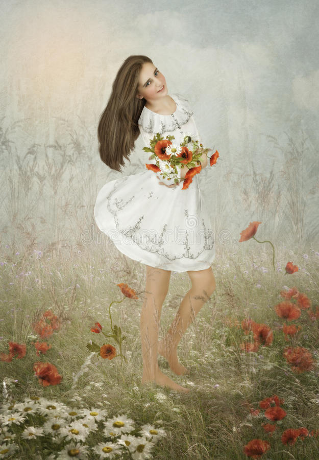 La muchacha con el ramo de wildflowers imagen de archivo