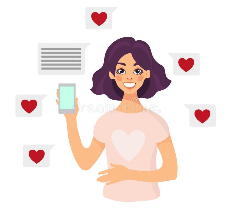 La muchacha con el smartphone sonríe y recibe mensajes y gustos ilustración del vector