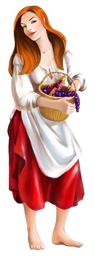 La muchacha con el vino ilustración del vector