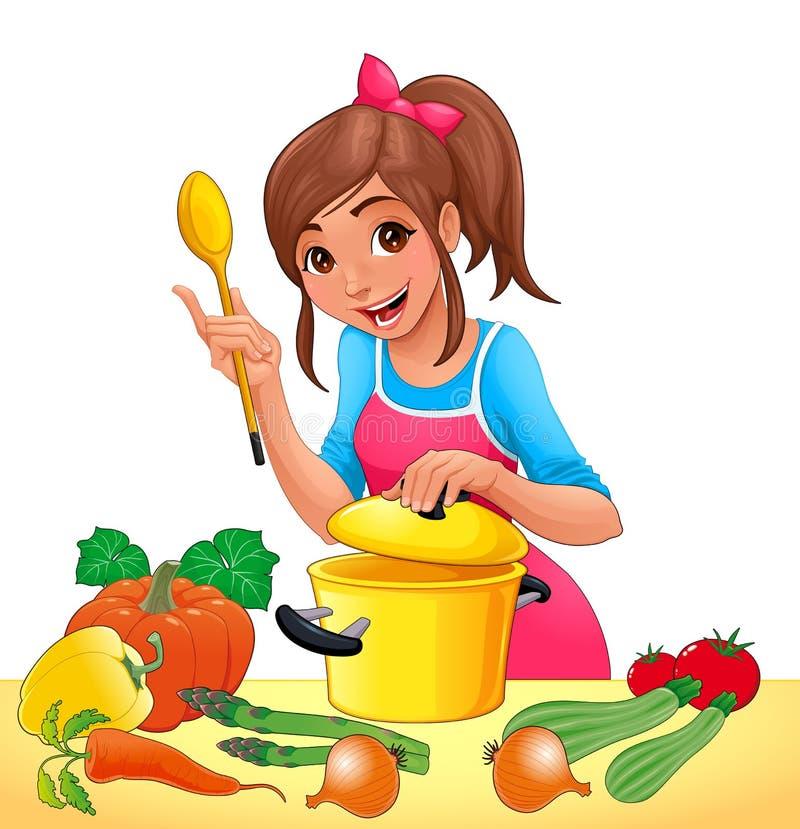 La muchacha con está cocinando con varias verduras stock de ilustración