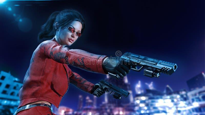 La muchacha con los armas, mujer de la acción en armas de cuero rojas de la mano del tiroteo del traje con la ciudad de la noche  stock de ilustración