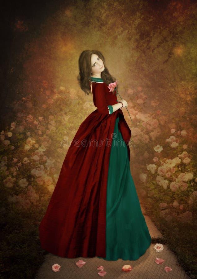 La muchacha con una rosa a disposición imagenes de archivo