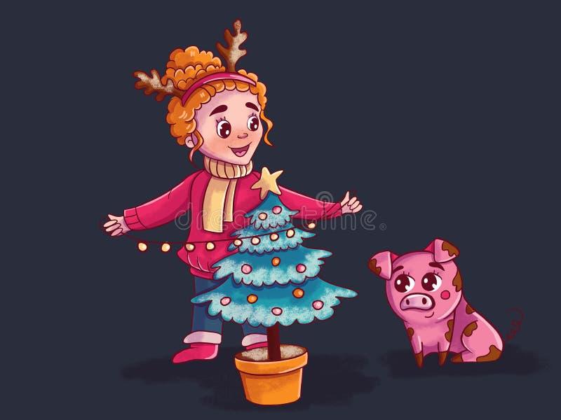 la muchacha cuelga una guirnalda en el árbol de navidad libre illustration
