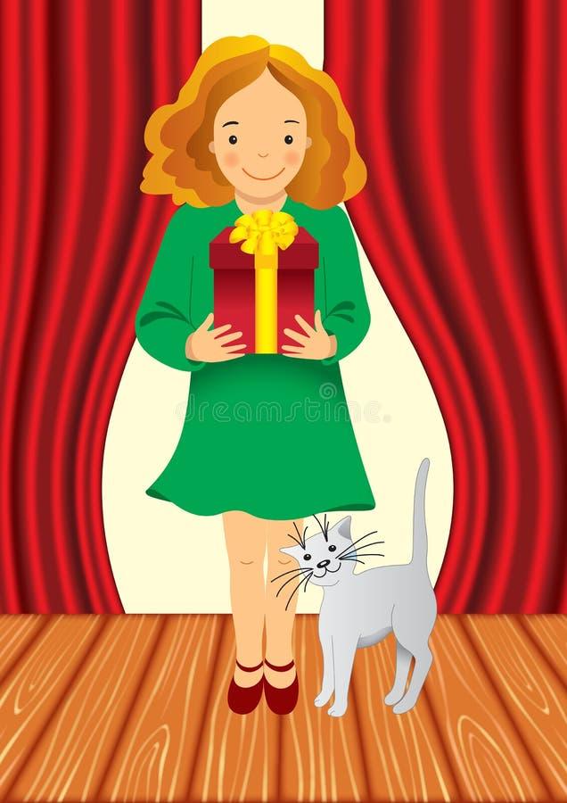 La muchacha da el regalo libre illustration