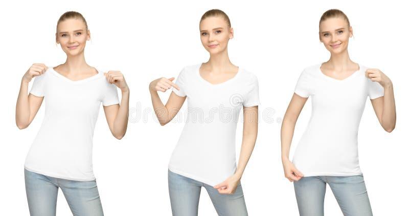 La muchacha de la actitud del promo en el diseño blanco en blanco de la maqueta de la camiseta para el frente de la camiseta de l fotografía de archivo libre de regalías