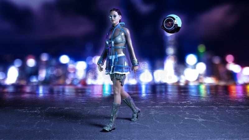 La muchacha de la ciencia ficción con el abejón del vuelo que lleva el equipo de alta tecnología en calle futurista de la ciudad  ilustración del vector
