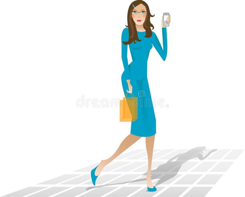 La muchacha de compras vio una llamada faltada ilustración del vector