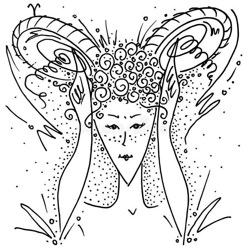 La muchacha de dibujo blanco y negro del aries de la muestra del zodiaco muestra los cuernos con sus manos y fingeres stock de ilustración