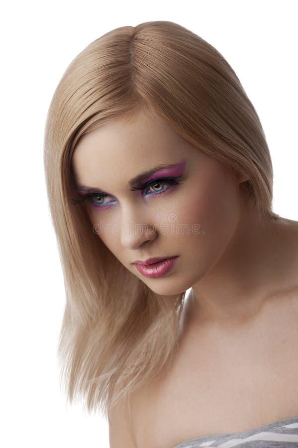 La muchacha de la belleza con el colourfull compone foto de archivo libre de regalías