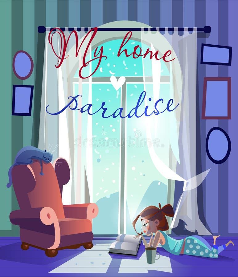 La muchacha de la historieta cerca de la ventana leyó el libro libre illustration
