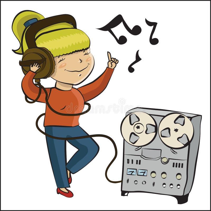 La muchacha de la historieta escucha música y dansing ilustración del vector