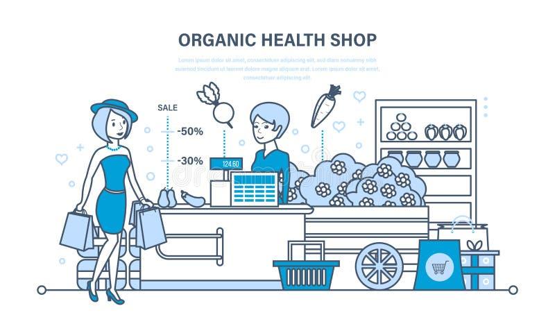 La muchacha de la moda de los jóvenes asiste a la tienda orgánica de la salud con compras grandes stock de ilustración