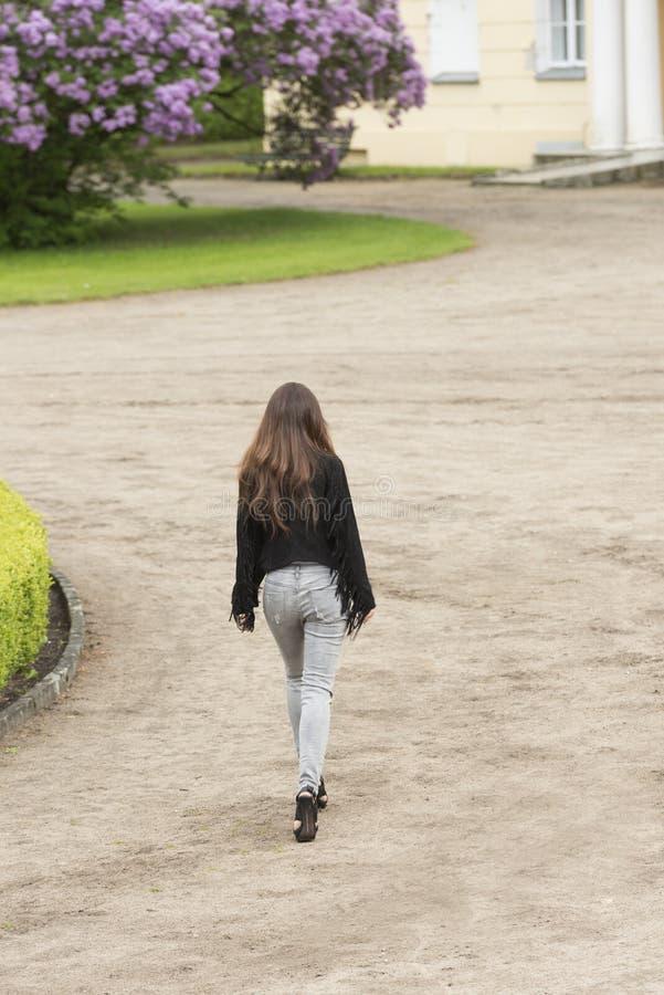 La muchacha de la moda está caminando en el parque foto de archivo